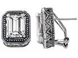 Original Star K™ 925 Bali Style Emerald Cut White Topaz Earrings