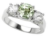 Original Star K™ 925 Genuine Round Green Amethyst Engagement Ring