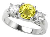 Original Star K 925 Genuine Round Lemon Quartz Engagement Ring