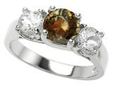 Original Star K™ 925 Genuine Round Smoky Quartz Engagement Ring