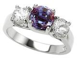 Original Star K™ 925 Simulated Round Alexandrite Engagement Ring
