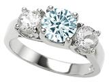 Original Star K™ 925 Genuine Round Aquamarine Engagement Ring