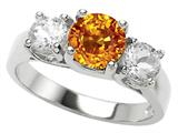 Original Star K™ 925 Genuine Round Citrine Engagement Ring