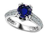 Original Star K 925 Created Round Sapphire Engagement Ring