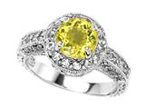 Original Star K Genuine 7mm Round Lemon Quartz Engagement Ring