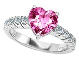 Original Star K 8mm Heart Shape Simulated Pink Topaz Engagement Ring
