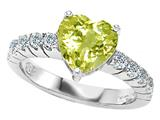 Original Star K™ Genuine 8mm Heart Shape Lemon Quartz Engagement Ring style: 27176