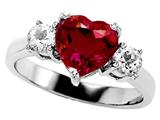 Original Star K 8mm Heart Shape Created Ruby Engagement Ring