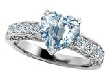 Original Star K 925 Genuine Heart Shape Simulated Aquamarine Engagement Ring