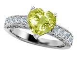 Original Star K™ Genuine 8mm Heart Shape Lemon Quartz Ring style: 27196