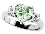 Original Star K Genuine 7mm Heart Shape Green Amethyst Engagement Ring