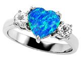 Original Star K 8mm Heart Shape Created Blue Opal Engagement Ring