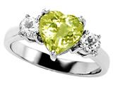 Original Star K Genuine 8mm Heart Shape Lemon Quartz Engagement Ring