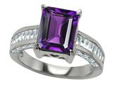 Original Star K 925 Genuine Emerald Cut Amethyst Engagement Ring