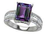 Original Star K™ 925 Simulated Emerald Cut Alexandrite Engagement Ring