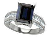 Original Star K™ 925 Genuine Emerald Cut Black Sapphire Engagement Ring