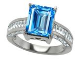 Original Star K 925 Genuine Emerald Cut Blue Topaz Engagement Ring