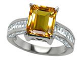 Original Star K™ 925 Genuine Emerald Cut Citrine Engagement Ring