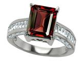Original Star K 925 Genuine Emerald Cut Garnet Engagement Ring