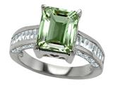 Original Star K 925 Genuine Emerald Cut Green Amethyst Engagement Ring