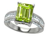 Original Star K 925 Genuine Emerald Cut Peridot Engagement Ring