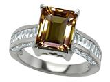 Original Star K™ 925 Genuine Emerald Cut Smoky Quartz Engagement Ring