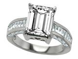 Original Star K™ 925 Genuine Emerald Cut White Topaz Engagement Ring