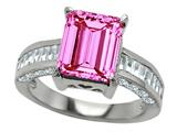 Original Star K™ 925 Simulated Emerald Cut Pink Tourmaline Engagement Ring