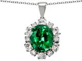 Original Star K™ 925 Created Oval Emerald Pendant style: 27264