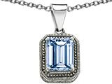 Original Star K Bali Style Emerald Cut 10x8mm Simulated Aquamarine Pendant