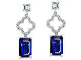 Original Star K 925 Emerald Cut Octagon Hanging Drop Created Sapphire Earrings