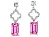 Original Star K™ 925 Emerald Cut Octagon Designer Hanging Drop Created Pink Sapphire Earrings