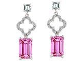 Original Star K™ 925 Emerald Cut Octagon Designer Hanging Drop Created Pink Sapphire Earrings style: 27306