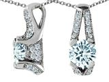 Original Star K™ 925 Genuine Round Aquamarine Pendant
