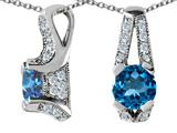 Original Star K™ 925 Genuine Round Blue Topaz Pendant