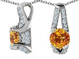 Original Star K™ 925 Genuine Round Citrine Pendant style: 27316