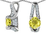 Original Star K™ 925 Genuine Round Lemon Quartz Pendant