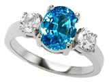 Original Star K 925 Genuine Oval Blue Topaz Engagement Ring