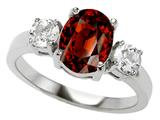 Original Star K™ 925 Genuine Oval Garnet Engagement Ring