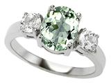 Original Star K™ 925 Genuine Oval Green Amethyst Engagement Ring
