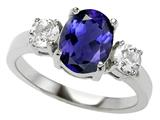 Original Star K™ 925 Genuine Oval Iolite Engagement Ring