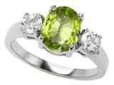 Original Star K™ 925 Genuine Oval Peridot Engagement Ring