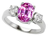 Original Star K™ 925 Simulated Oval Pink Topaz Engagement Ring
