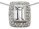 Original Star K 925 Genuine Emerald Cut White Topaz Pendant