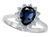 Original Star K™ 925 Genuine Pear Shape Sapphire Engagement Ring