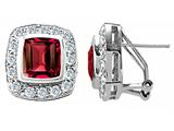 Original Star K 925 Created Emerald Cut Ruby Earrings