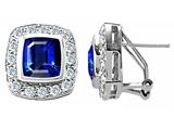 Original Star K Square Emerald Cut Created Sapphire Earrings