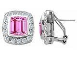 Original Star K 925 Created Emerald Cut Pink Sapphire Earrings
