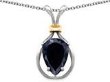 Original Star K Pear Shape 11x8mm Genuine Black Sapphire Pendant