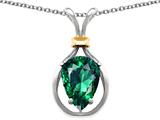Original Star K Pear Shape 11x8mm Simulated Emerald Pendant